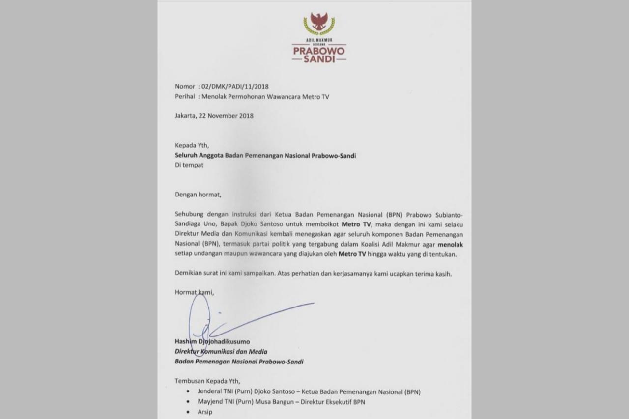 Beredar Surat Instruksi BPN Prabowo-Sandi Boikot Metro TV