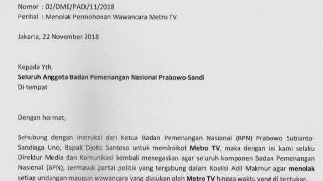 Dianggap Tak Berimbang, Kubu Prabowo-Sandi Boikot Metro TV