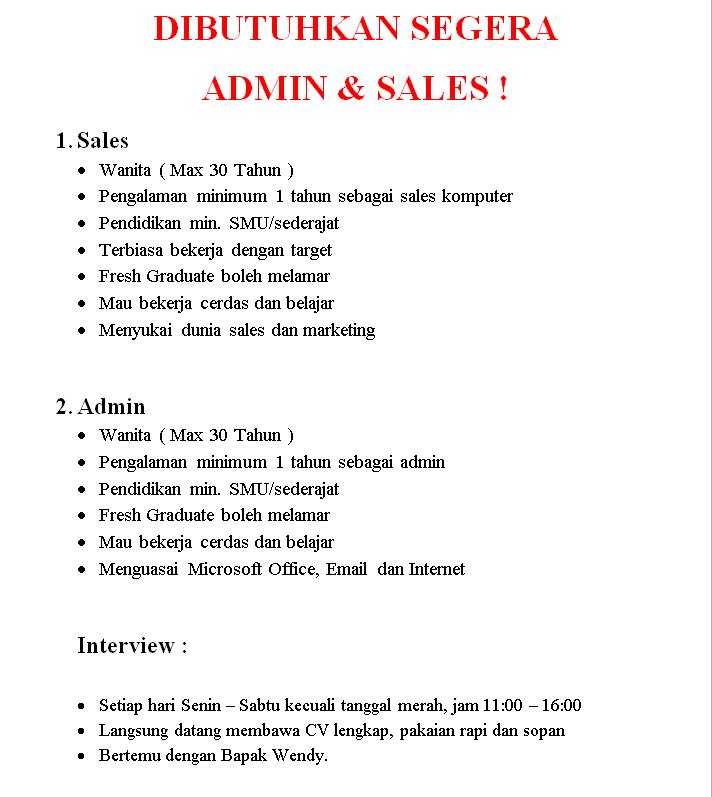 Dibutuhkan Sales dan Admin ( Toko Computer Ambasador / ITC Kuningan)