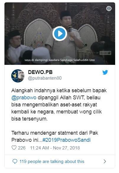Inilah Keinginan Prabowo Subianto Sebelum Meninggal Dunia yang Bikin Relawan Terharu