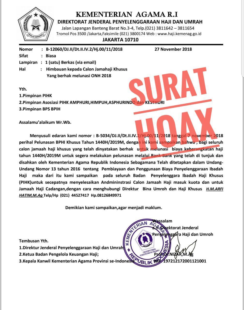 HOAX, Imbauan Agar Jemaah Haji Khusus Segera Lunasi Biaya