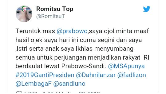 Bercucuran Air Mata, Driver Ojol Sumbang Pendapatannya ke Prabowo-Sandi