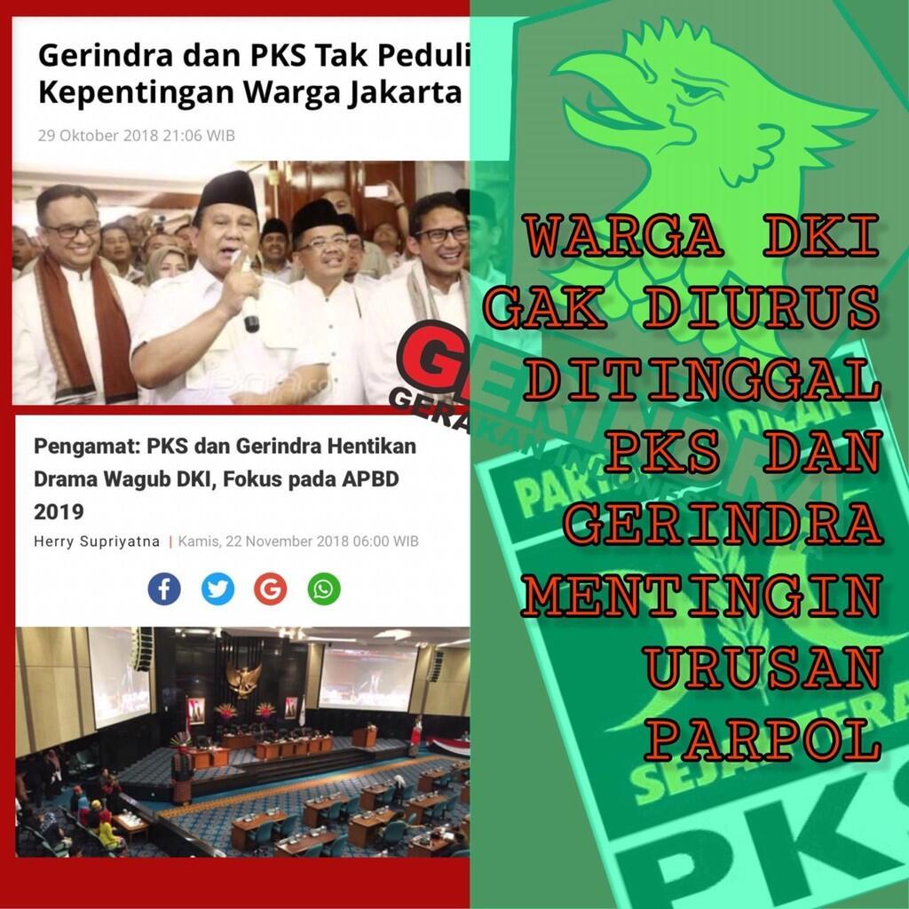 Ribut Terus soal Kursi Wagub, Gerindra dan PKS Tak Peduli Warga DKI