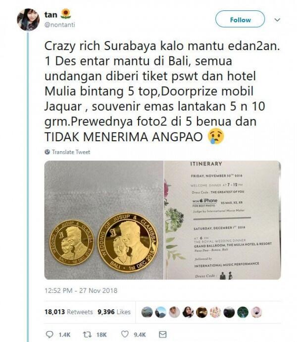 10 Rintihan Kocak Netizen Tanggapi Pernikahan Crazy Rich Surabayan