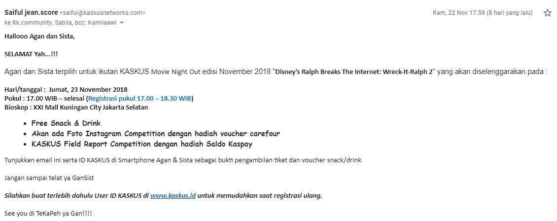 Serunya KASKUS Movie Night Out Disney's Ralph Break the Internet: Wreck It Ralp 2