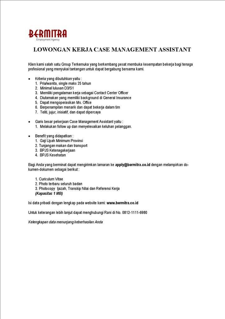 Lowongan Kerja Case Management Assistant
