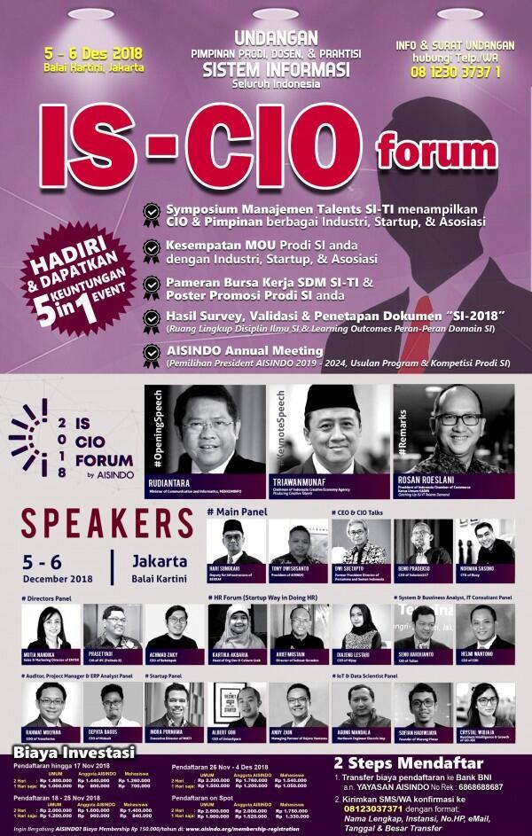 AISINDO akan Adakan IS CIO Forum pada 5-6 Desember 2018