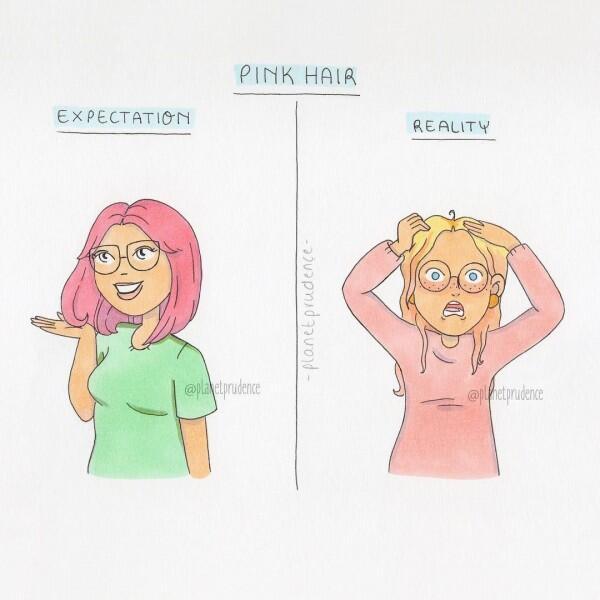 8 Ilustrasi Ekspetasi Vs Realita yang Pasti Pernah Dilakukan Cewek!
