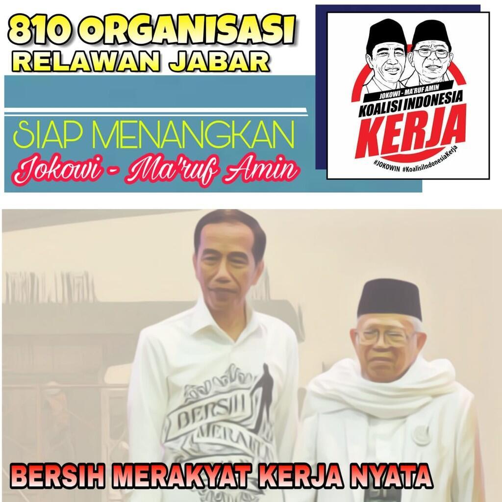 Bahu-Membahu, 810 Organisasi Relawan di Jabar Siap Menangkan Jokowi-Ma'ruf