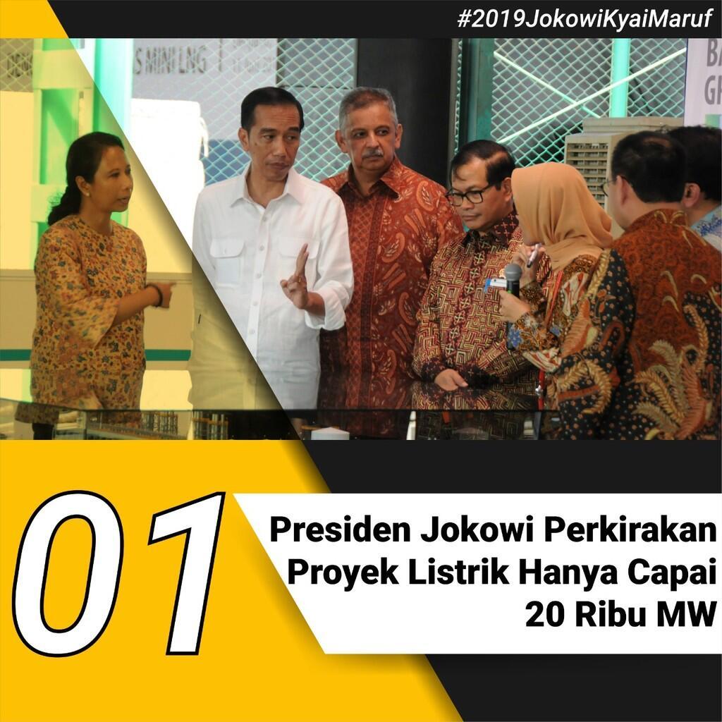 Presiden Jokowi Perkirakan Proyek Listrik Hanya Capai 20 Ribu MW
