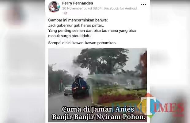 Eh.. Eh, Foto Siram Taman saat Hujan di Malang Dibuat Nyerang Gubernur Anies Baswedan