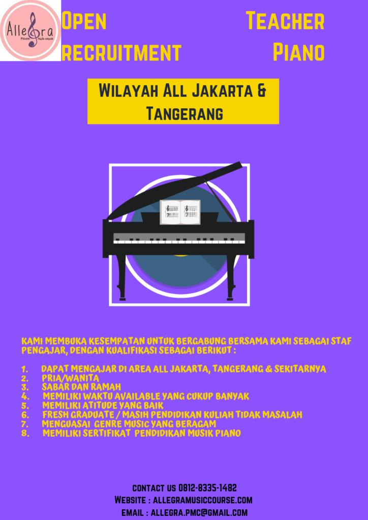 Open Recruitment Teacher Piano wilayah All Jakarta dan Tangerang