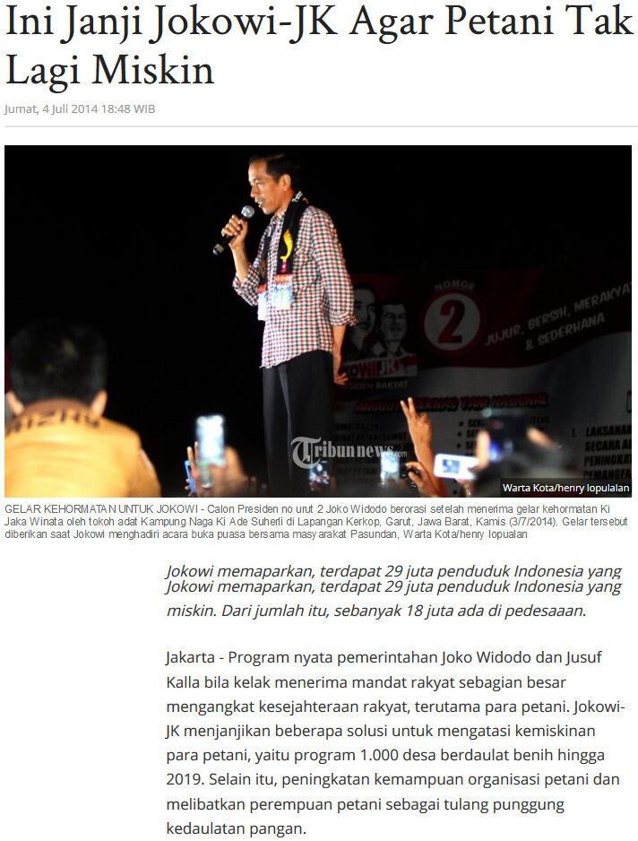 Tak Seperti Janji Kampanye Jokowi, BPN Akui Area Persawahan di Indonesia Berkurang