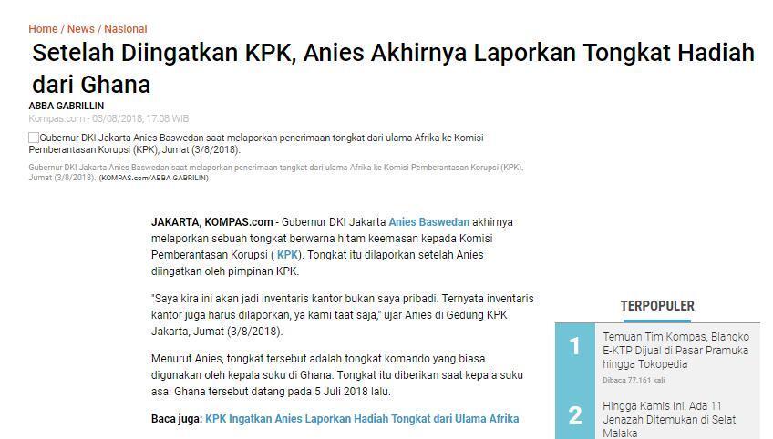 Anies Raih Tiga Penghargaan dari KPK