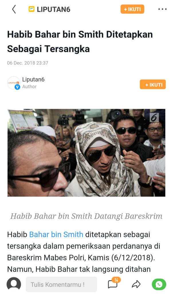 Habib Bahar bin Smith Ditetapkan Sebagai Tersangka