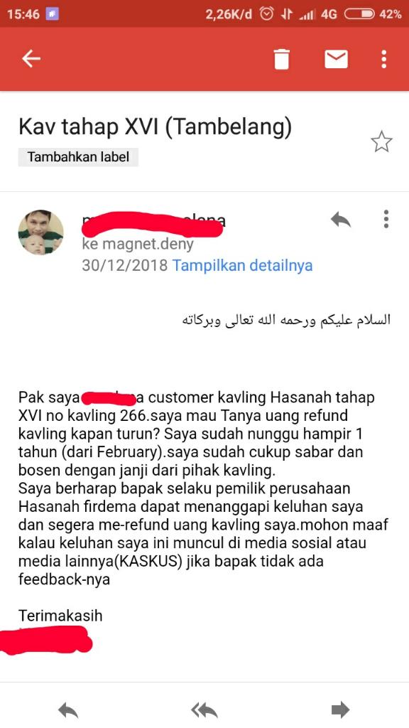 Kavling Hasanah Cikarang bermasalah,Kapan Uang Saya Dikembalikan?(PT.Hasanah Firdema)