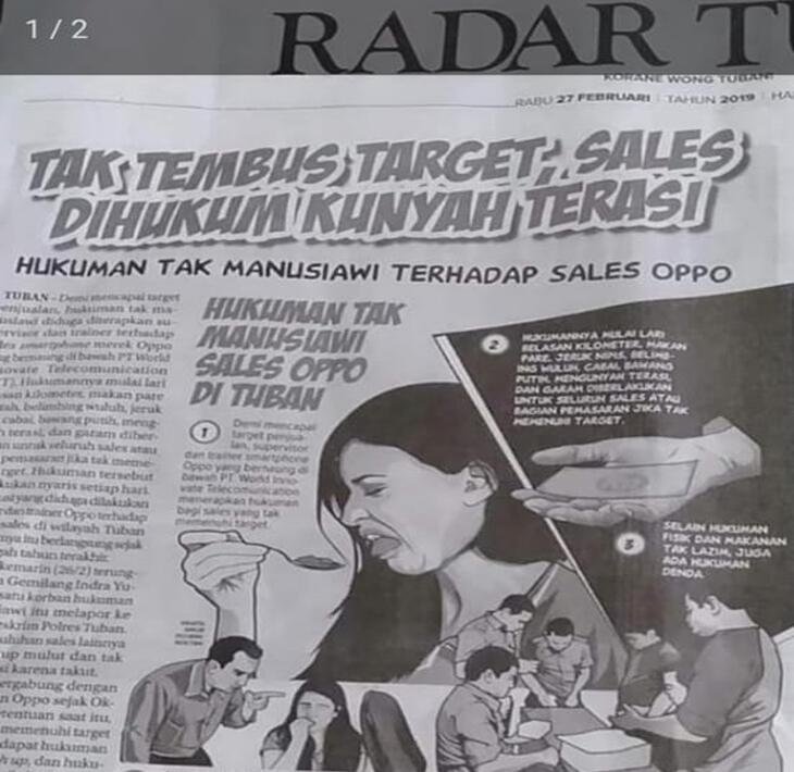 Sales Oppo Dihukum Kunyah Terasi sampai Muntah Gara-gara Tak Capai Target