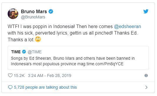 Lagunya Dibilang Vulgar, Bruno Mars Ngomel ke Indonesia, Ed Sheeran Ikut Disindir!