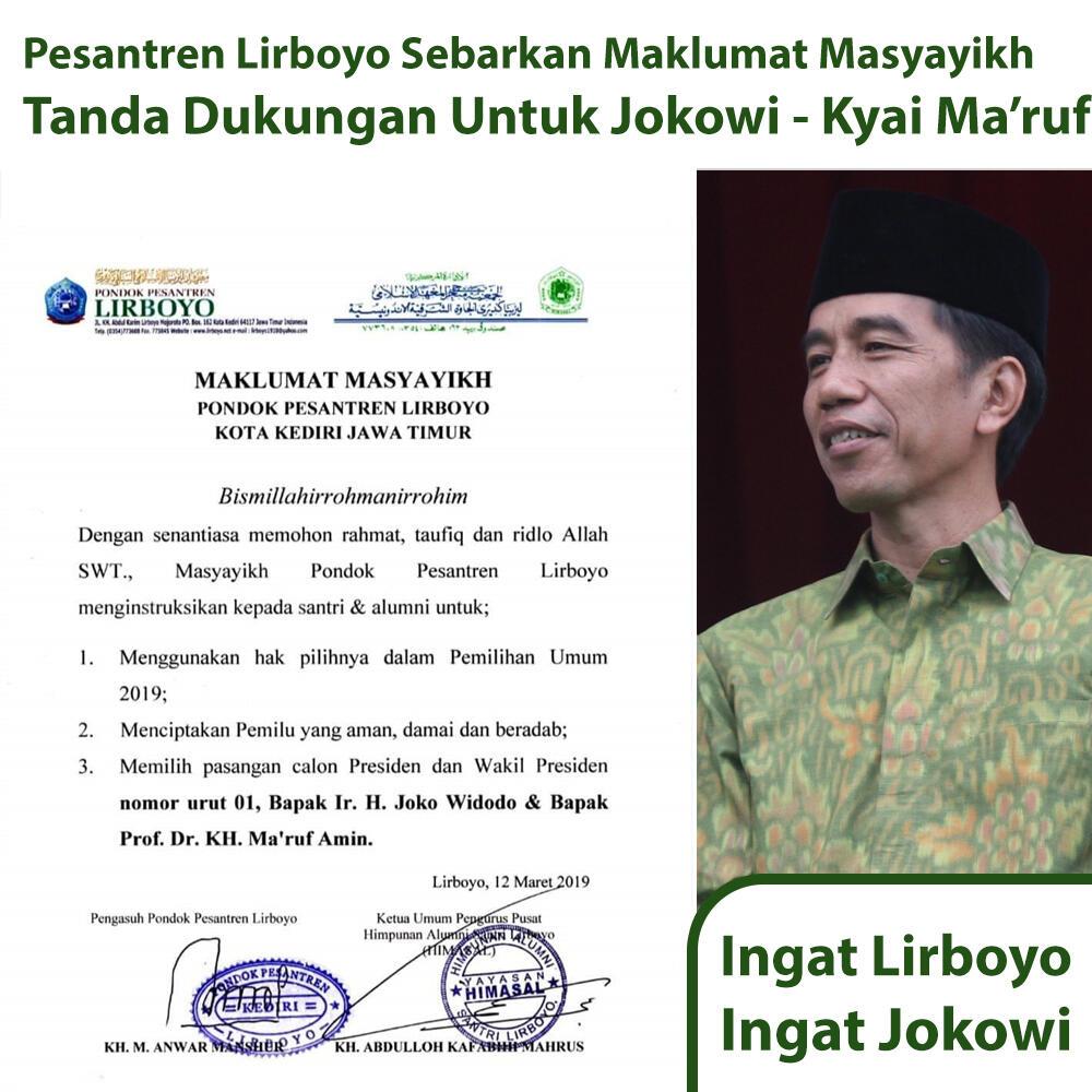 Ini Alasan Ponpes Lirboyo Soal Maklumat Dukungan untuk Jokowi-Ma'ruf
