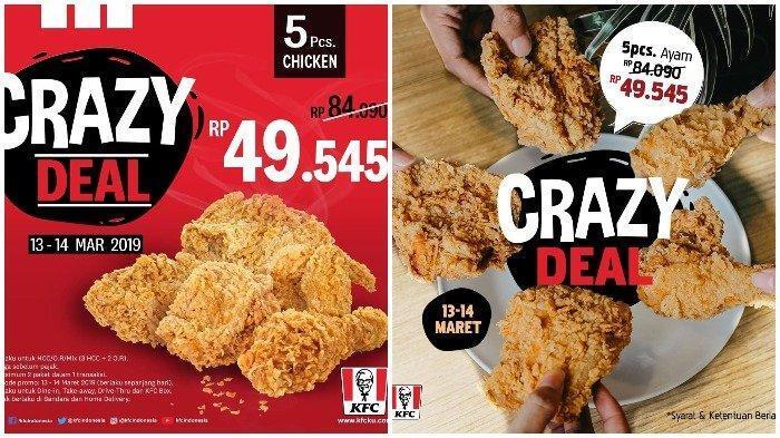 Hari Terakhir Promo KFC Crazy Deal, Cuma Rp 50 Ribu dapat 5 Potong Ayam Krispi