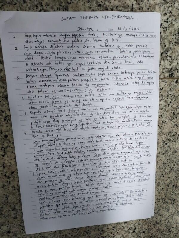 Merasa Dirinya Dijebak, Ini Isi Lengkap Surat Terbuka Rommy