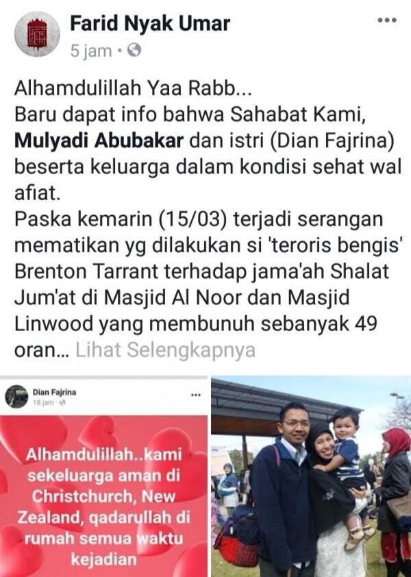 Kisah Keluarga asal Aceh yang Lolos Penembakan di MasjidChristchurch
