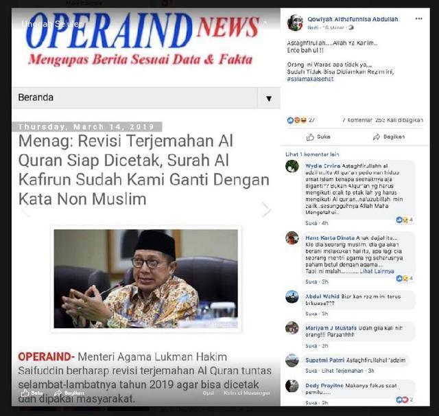 [HOAX] Kabar Terjemahan Surat Al Kafirun dalam Al-Quran Diganti Kata Non-Muslim