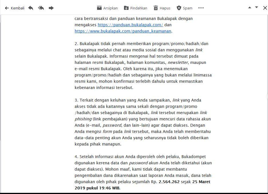 Surat Pembaca untuk BUKALAPAK