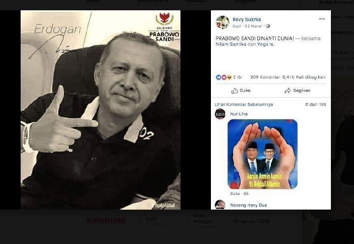 CEK FAKTA: Presiden Turki Erdogan Pose Dua Jari Dukung Prabowo - Sandiaga