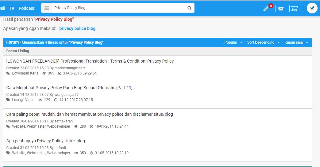 Cara membuat Privacy Policy Di Blog dan Website
