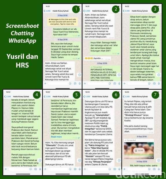 Yusril Jelaskan Motif Ungkap Chat WA dengan HRS ke Publik
