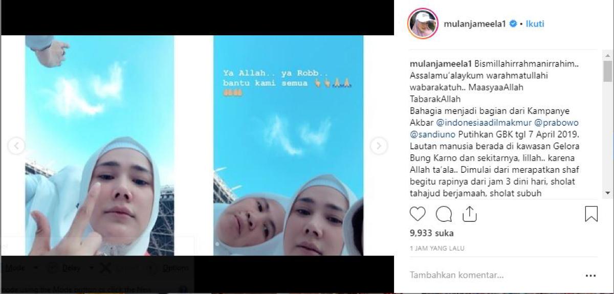 Mulan Jameela Lihat Ada Awan Menyerupai Lafal Allah di Kampanye Akbar di GBK
