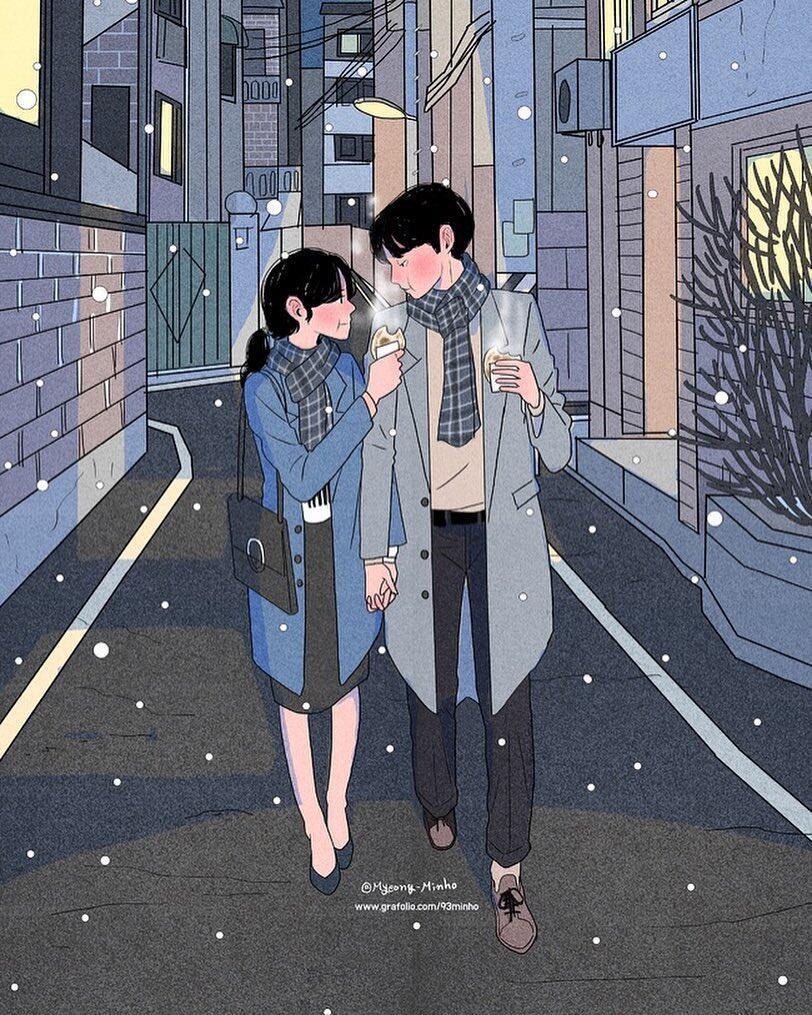 11 Ilustrasi Pasangan Baru Nikah Ini Bikin Gemas, Manjanya Itu Lho!