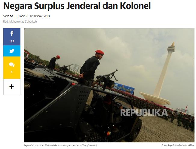 Banjir Jenderal dan Kolonel TNI, Banyak yang Nganggur
