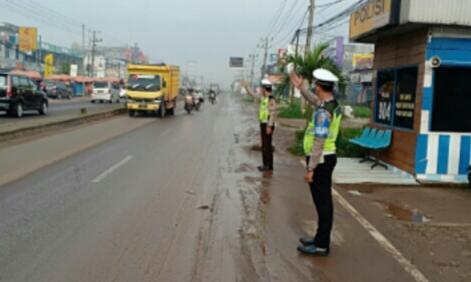 Satlantas Polres Banyuasin Antisipasi Kemacetan di Beberapa Titik Lintas Timur