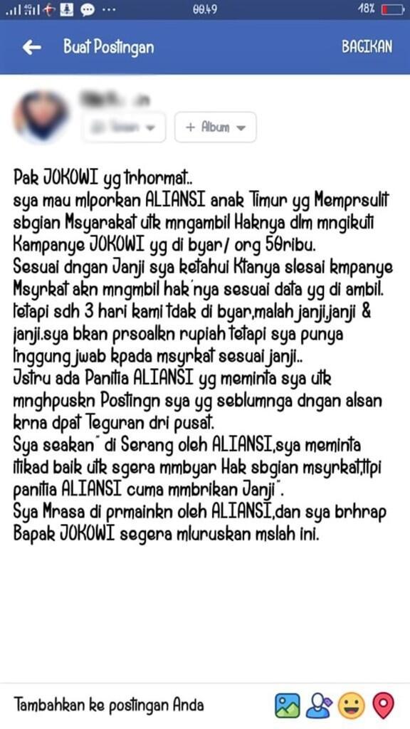 Massa Kampanye Jokowi-Ma'aruf Tagih Duit Rp 50.000 ke Pihak Panitia
