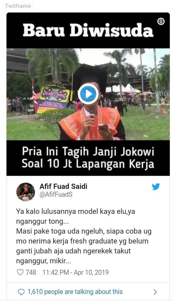 Baru Wisuda, Pemuda Ini Tagih Janji Jokowi Sediakan 10 Juta Lapangan Kerja