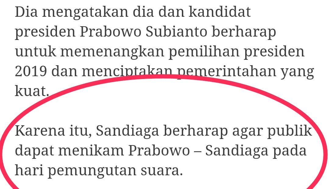 Sandiaga berharap publik dapat menikam Prabowo – Sandiaga pada hari pemungutan suara.