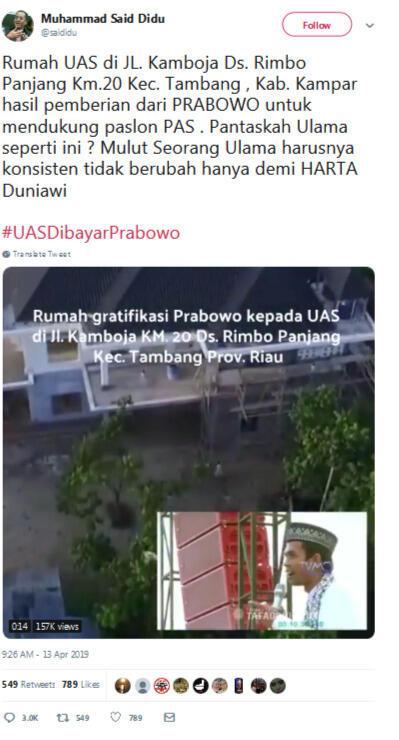Akun Twitter Said Didu Diretas, Sudutkan Ustaz Abdul Somad