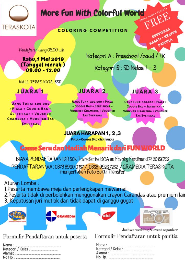 Lomba Mewarnai di Fun World Mall Teras Kota untuk tanggal 1 Mei 2019 (Tanggal Merah)