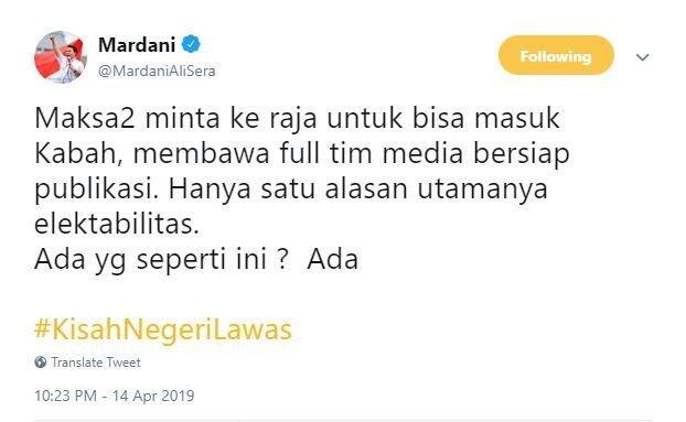 Cuit Maksa Raja untuk Masuk Kakbah, Mardani Ali Sera Nyinyiri Jokowi?