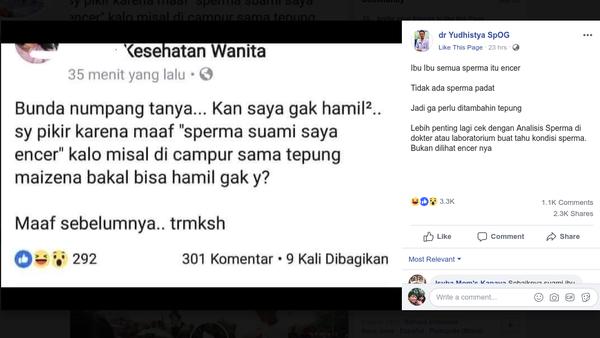 Viral Pertanyaan Netizen Soal Sperma Dicampur Tepung Maizena Agar Tokcer
