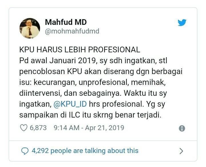Mahfud MD Singgung Kinerja KPU di Pemilu 2019: Terkesan Kurang Profesional