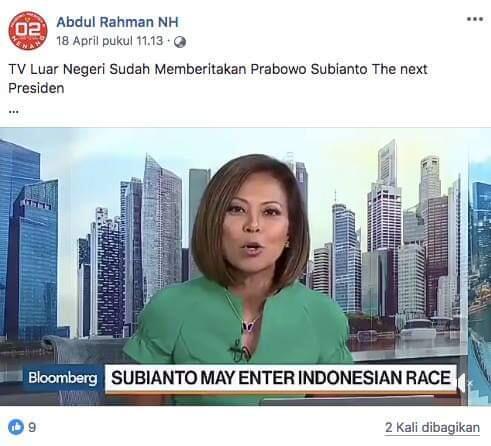 [Cek Fakta] TV Luar Negeri Sudah Memberitakan 'Prabowo Subianto The Next President'?