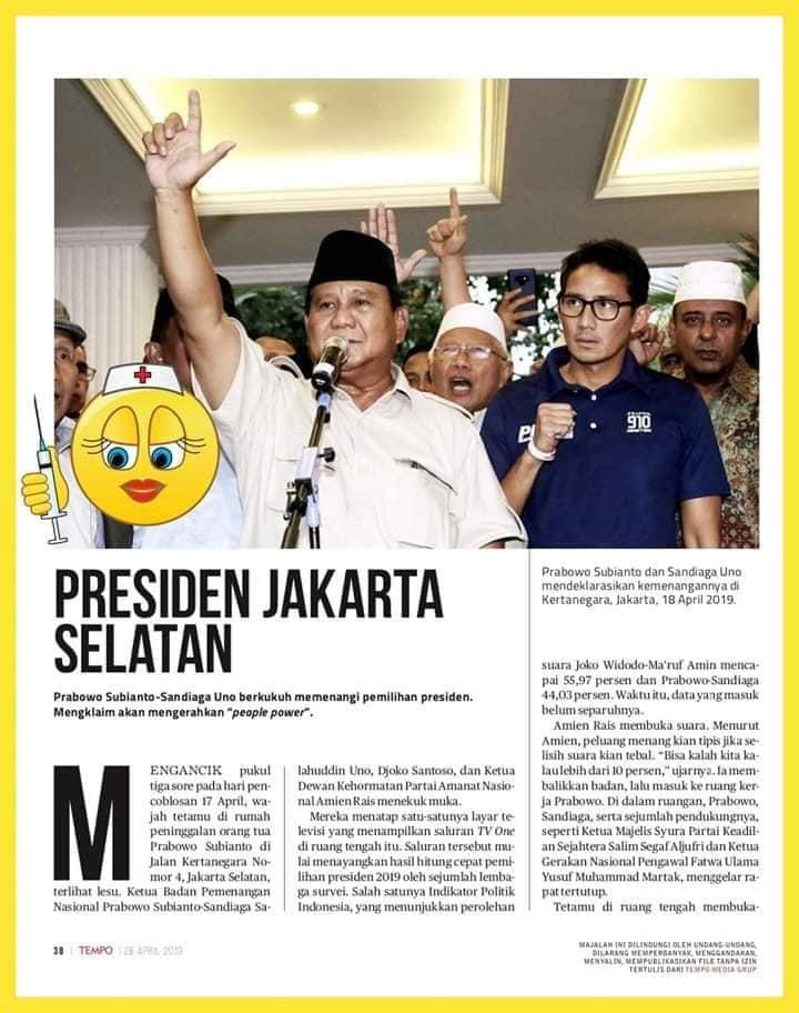 Hasil gambar untuk Majalah Tempo dengan judul Prabowo Presiden Jakarta Selatan
