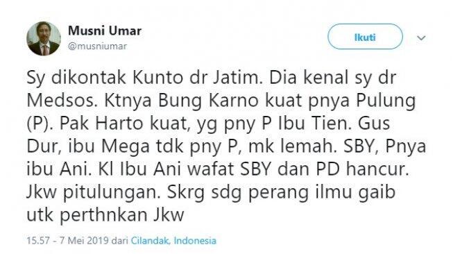 Heboh Sebut Jokowi Pakai Jimat, Rektor UIC Minta Maaf Lewat Youtube
