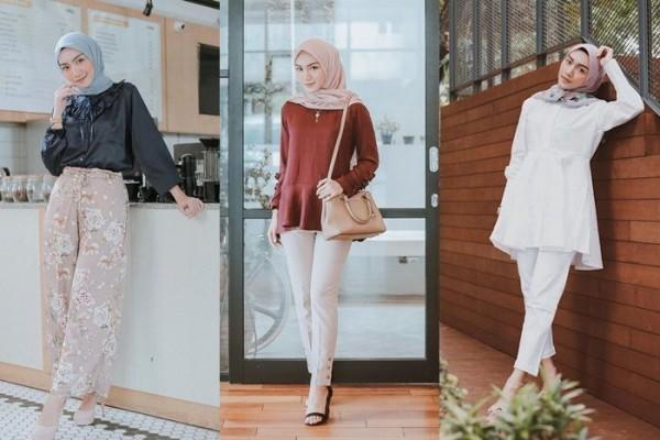 10 Ide Mix and Match Blouse dengan Hijab Simple ala Melody Prima