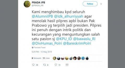 Jika Prabowo Kalah, Akun Prada IPB Ajak Alumni Tolak Hasil Pilpres