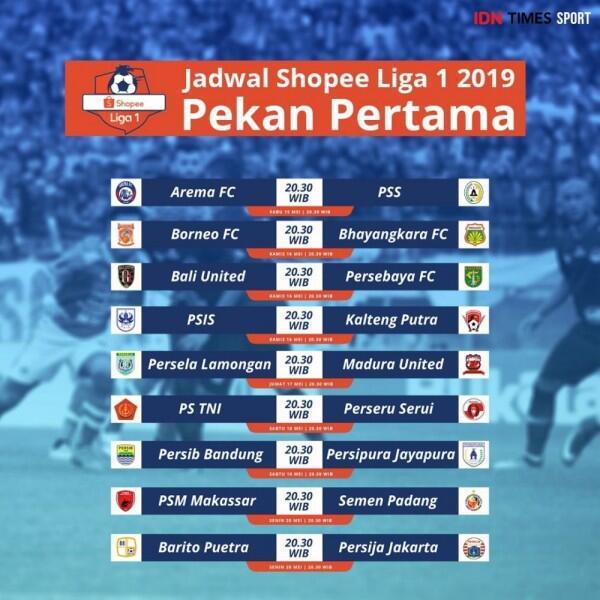 Liga 1 2019 Mulai Hari Ini, Ini Jadwal Lengkap Pekan Pertama