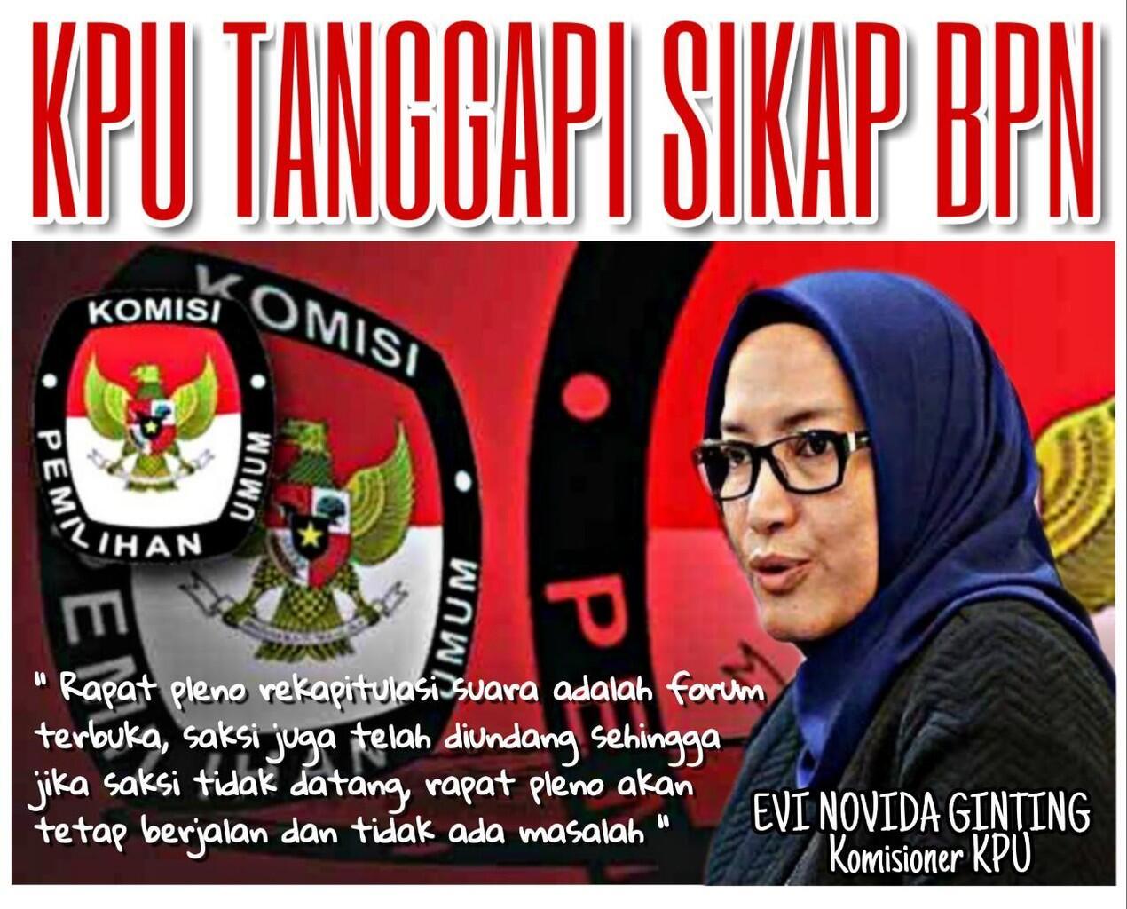 Meski Tak Dihadiri Saksi Kubu Prabowo-Sandi Hasil Rekapitulasi Resmi KPU Tetap Sah